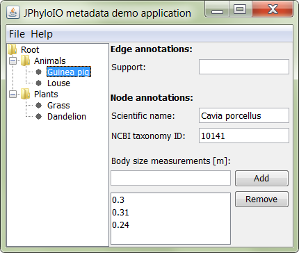 Screenshot of a JPhyloIO demo application