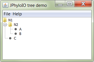 The main window of this example application showing a loaded tree.