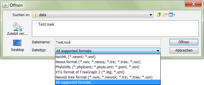 Screenshot of an open dialog from the tree demo application