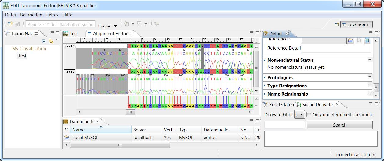 Screenshot of the Taxonomic EDITor.